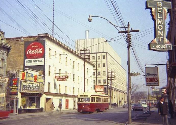 TTC streetcar travelling along Dundas St. West in Toronto, circa 1950s