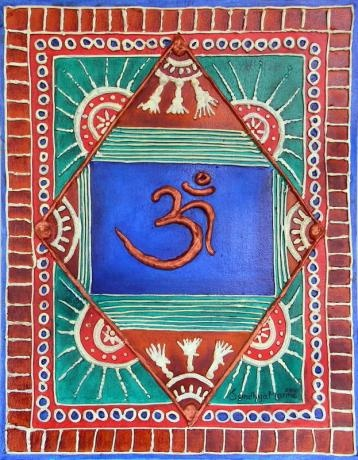 The symbol OM is a sacred syllable representing Brahman which is both the unmanifest (nirguna) and manifest (saguna) aspects of God.The artwork is done on Canvas Board and I have used Clay to do the embossed outline.The entire back ground is colored in rich Indian colors with Copper highlights. OM is done with Copper Metallic.