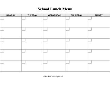 Cafeteria supervisors, parents, and others can use this blank lunch menu template to record weekday lunches for an entire month. It is undated for maximum flexibility. Free to download and print