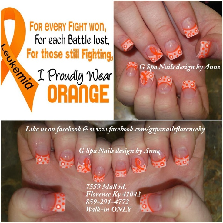 Leukemia ribbons nails