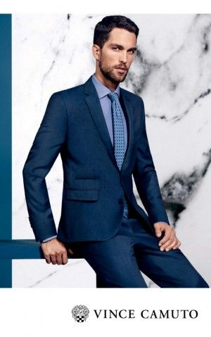 Tobias Sorensen Dons Blue Suit for Vince Camuto Spring 2015 Ad Campaign