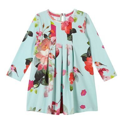 e1982b959 Baker by Ted Baker Girl s pale green floral print pleated dress- at  Debenhams.com