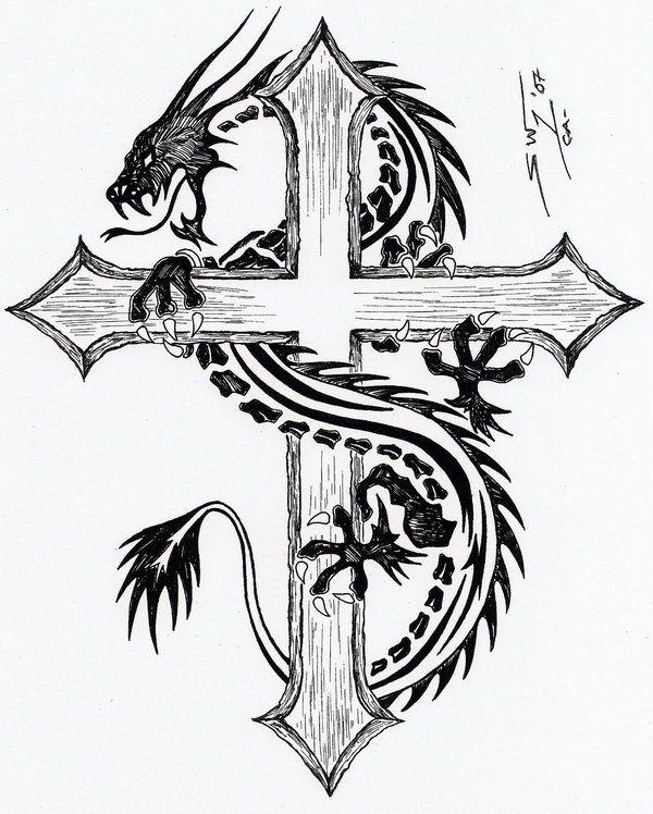 tribal dragon cross tattoos google search tattoos pinterest cross tattoos the o 39 jays. Black Bedroom Furniture Sets. Home Design Ideas