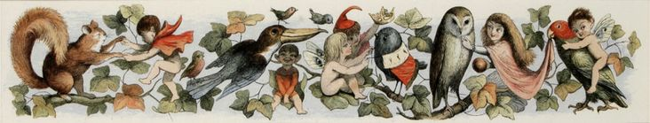 The Antiquarium - Antique Print & Map Gallery - Richard Doyle - Fairy child's play Color engraving