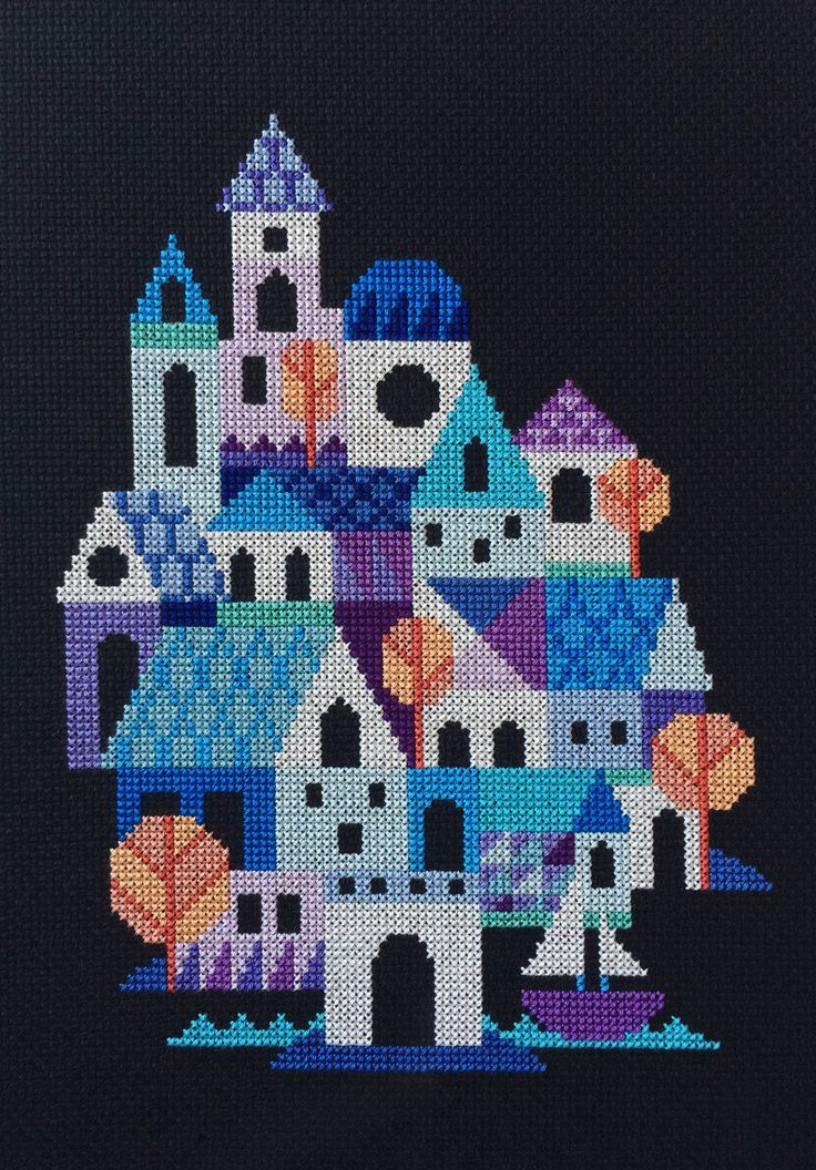 Blue Village - a counted cross stitch pattern by Satsuma Street