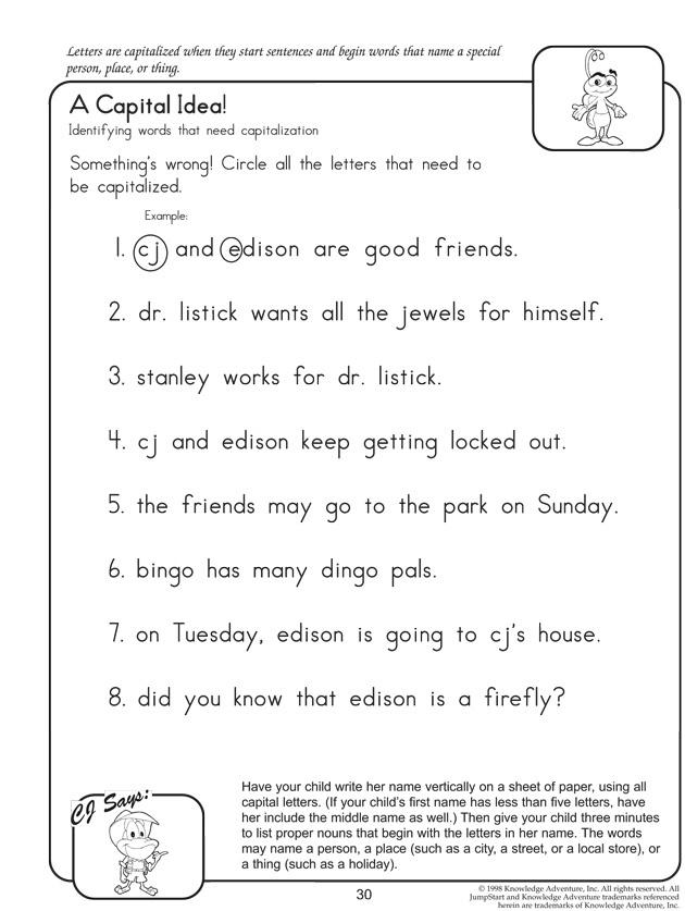 A Capital Idea Fun English Worksheets for Kids