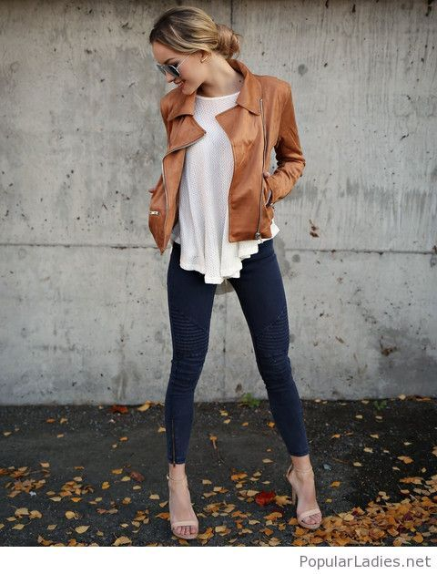jeans-white-top-and-brown-jacket