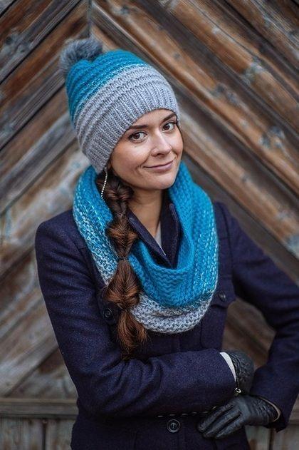 Комплект вязанный Туманное утро, снуд вязаный и шапка с градиентом - комплект шапка и шарф