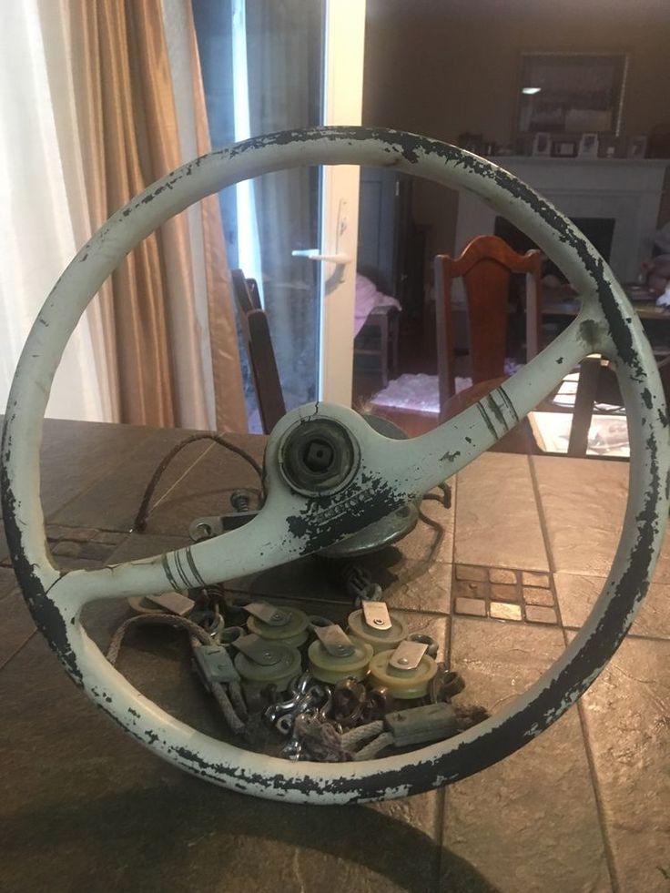 Kainer Vintage Motor Boat Steering Wheel w Steering Cable Drum Pulley System | eBay