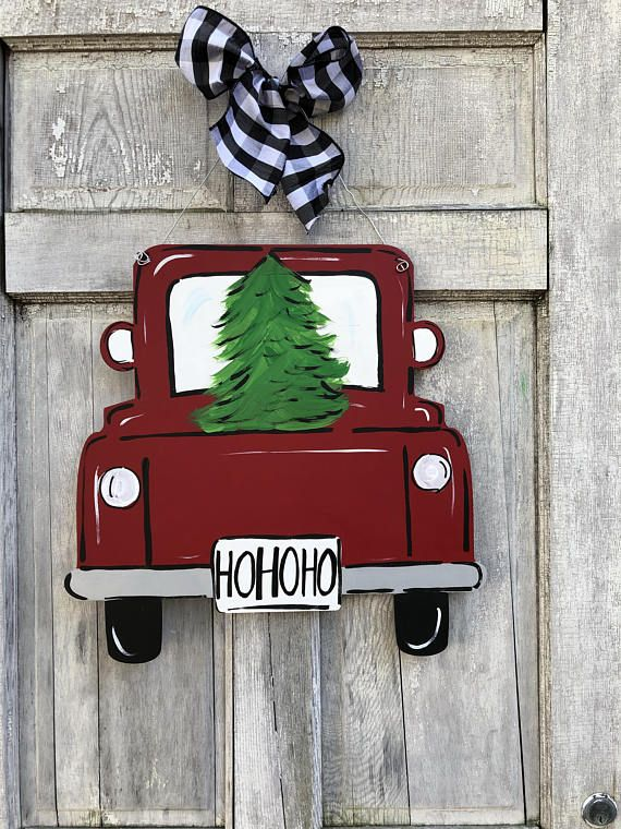 Christmas door hanger red truck door hanger new door hanger