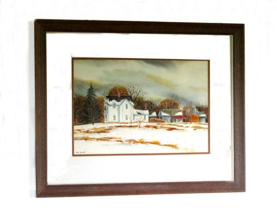 Tom Farrell Snow Scene Wood Framed Watercolor by ArtExtraction