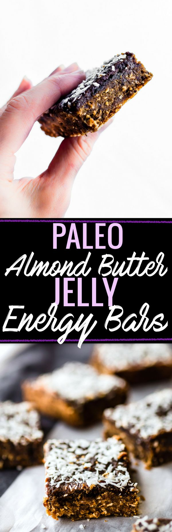 These Paleo Almond Butter Jelly Energy Bars are one of our favorite bars that fuel us for workouts and snacking on the go. Made with few ingredients; no oils and no sugar added. Blended and Baked in just 30 minutes, Which makes them pretty amazing! So chewy and flavorful that you'd never know they were healthy. Freezer friendly. www.cottercrunch.com