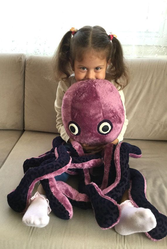 Plush octopus soft toy handmade toddler toy stuffed by Pillowio