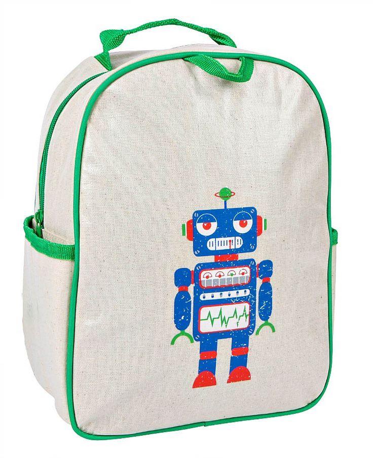 Apple and Mint-Toddler Backpacks-Green Robot Little Kid Backpack