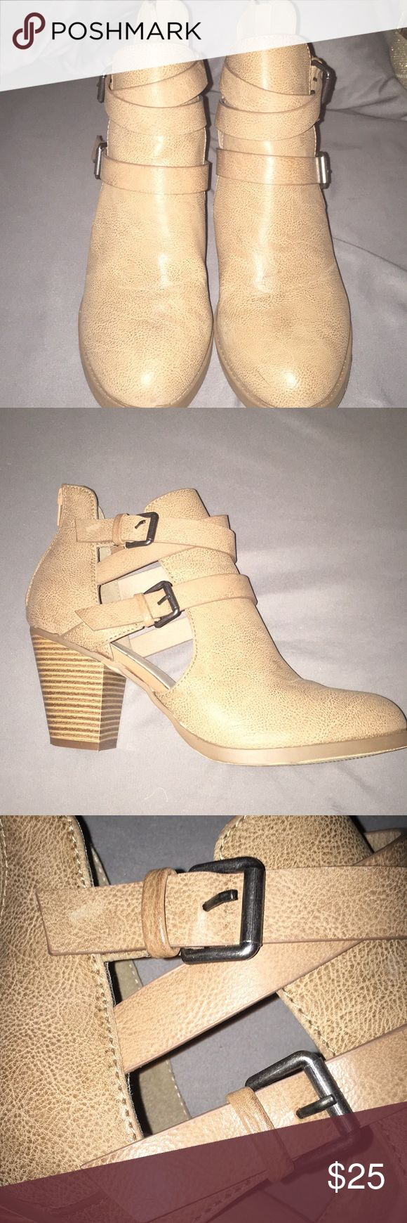 Shoe Dazzle Booties Tan booties with side cut outs and belted accents Shoe Dazzle Shoes Ankle Boots & Booties
