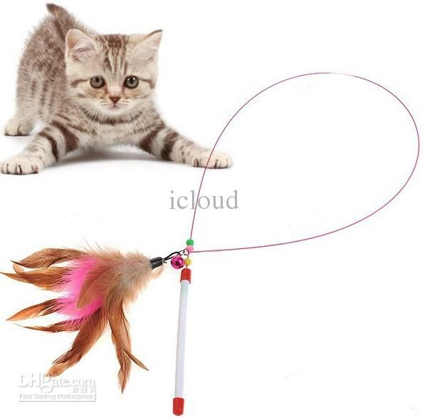 Colorful Feather Design Tease Cat Stick Cat Catcher Teaser Toy - Color Assorted