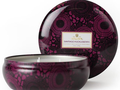 Voluspa Santiago Huckleberry 3-Wick Tin - This yummy-smelling candle is scented with huckleberry, vanilla pods, and sugar cane so she can create her own spa at home.  Amazon, $18
