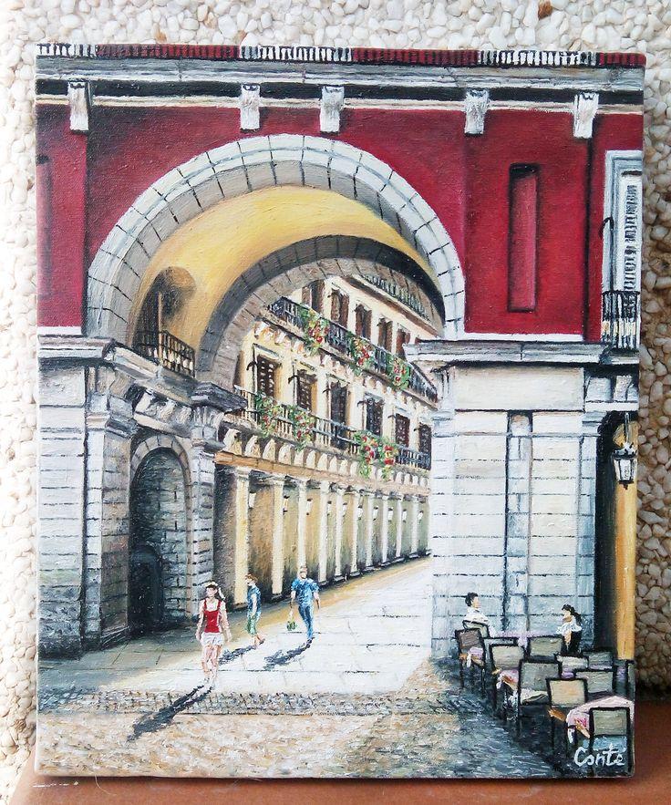 Arco de la Plaza Mayor (Madrid). Oleo sobre lienzo 27x22