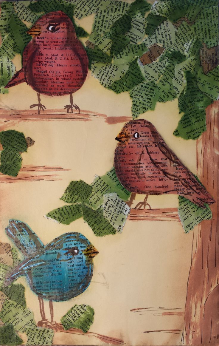 Some cutie putootie birdies with simple stamping and office supplies...re purposing old books as well...see how they were created.