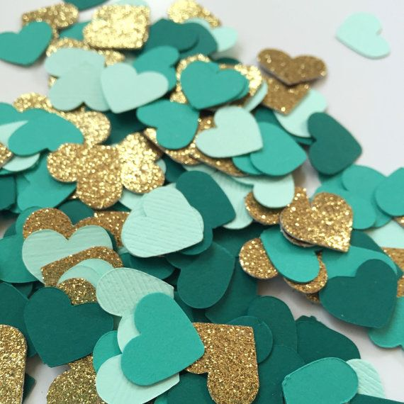 Confetti Hearts: Gold Glitter Dark Teal Turquoise Mint