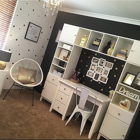 We shared a photo of this sophisticated teen room a few weeks back and here's the other side of the room. What a stunner using our Gold Polka Dots + Black Confetti Dots! Thanks @styled_by_eva - so beautiful