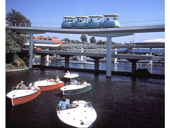 "From 1957 to 1993 guests could ""navigate"" the Disneyland waterways of the Motor Boat Cruise on the border of Fantasyland and Tomorrowland. Its loading platform remains as ""Fantasia Gardens."""