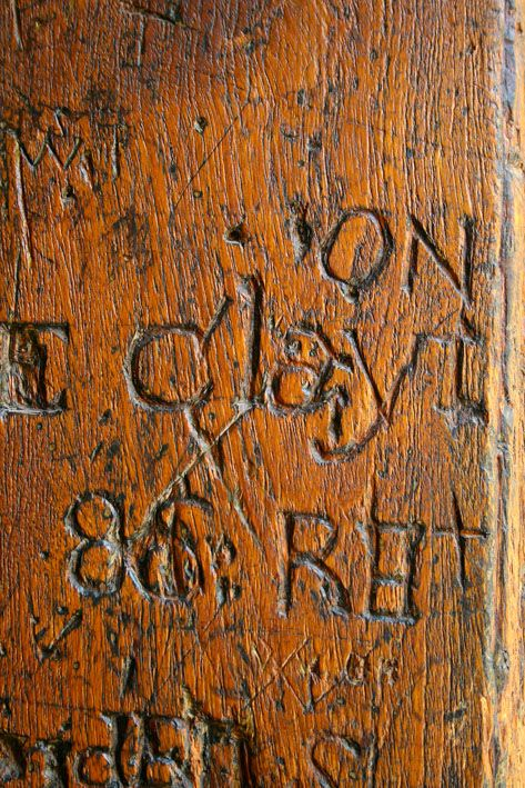 @ Castle of Good Hope, Cape Town. Carvings on a prison cell door.