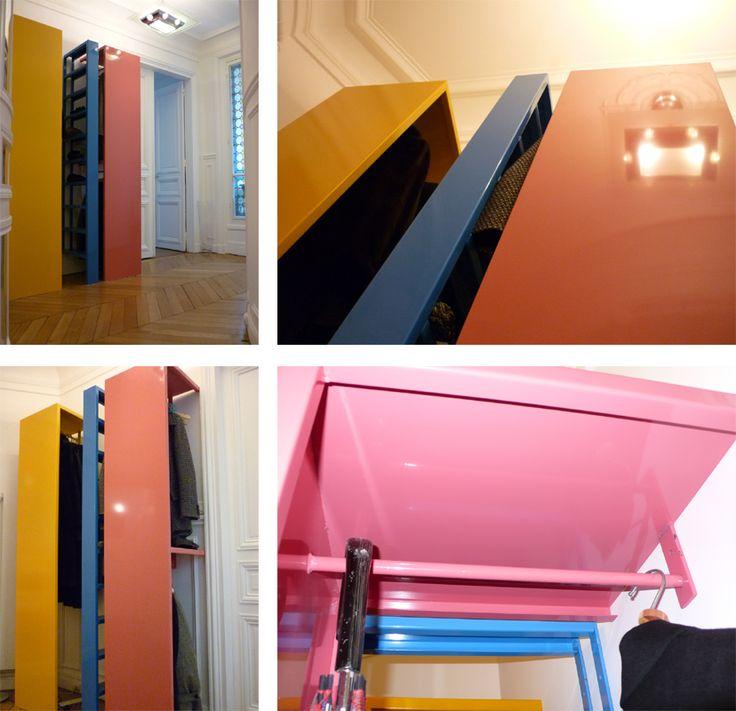 Vestiaire d'entrée en tôle pliée laquée Mobiliers - Manon Clement - Architecture d'intérieur