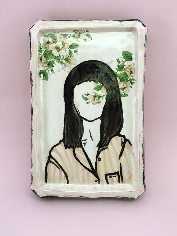 Keramik Bild Blossom Zeichnung auf Ton mit Blumen Karo Knitter