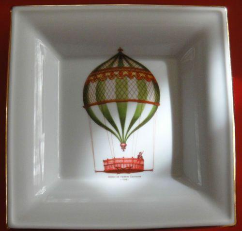 Limoges Porcelain Tray Dish w/ Hot Air Balloon Globo de Fedele Carmine France