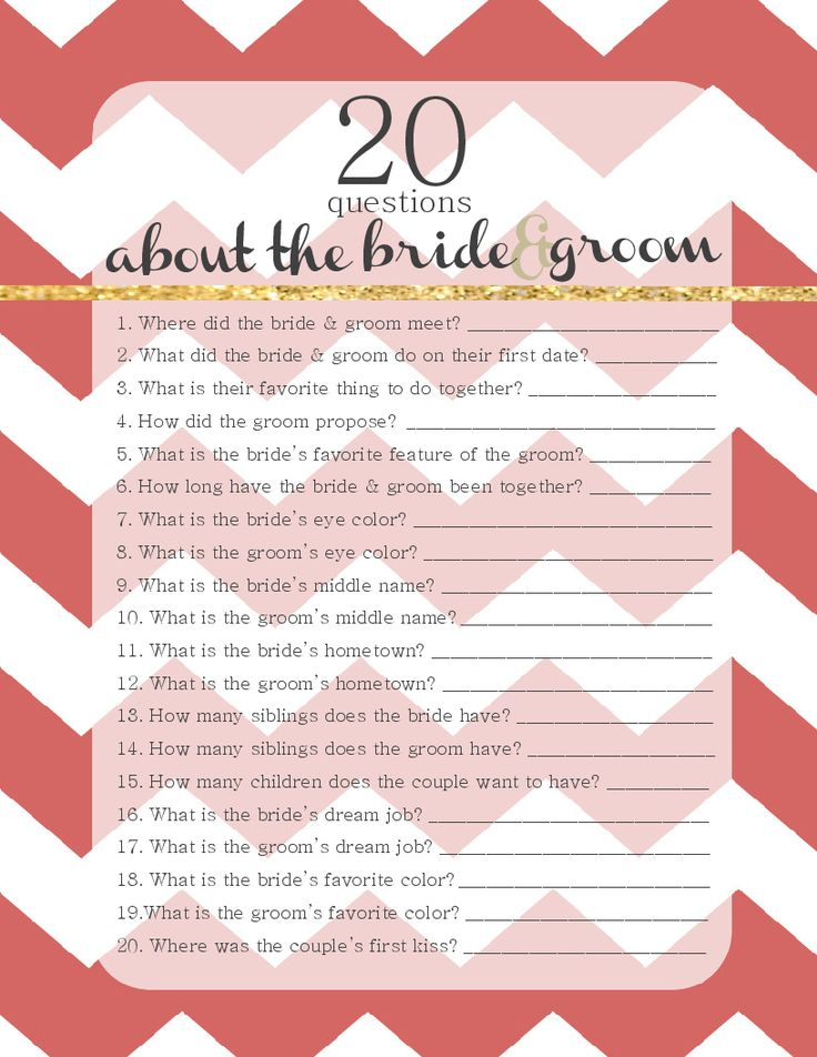 dating game questions for bridal shower It will give the host a chance to ask the bride and groom a bunch of silly questions and have their guests guessing and printable bridal shower game what you.
