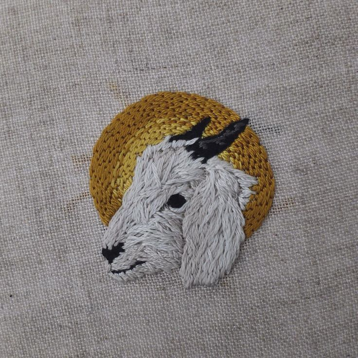 """Hand embroidery on linen/skin on Instagram: """"I embroidered this little martyred Anglo-Nubian goat today, for Allison Sommers (@awsommers). ⠀⠀⠀⠀⠀⠀⠀⠀⠀ I love what you're doing via the Drawings For Sad People experiment, Allison - your creative generosity is inspiring! ⠀⠀⠀⠀⠀⠀⠀⠀⠀ Hand embroidery on natural linen. ⠀⠀⠀⠀⠀⠀⠀⠀ PS - Patches start going out tomorrow, thank you for ordering! ⠀⠀⠀⠀⠀⠀⠀⠀⠀ #goat #martyr #embroidery"""""""
