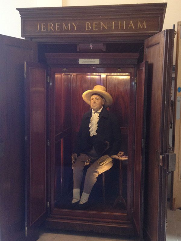Jeremy Bentham Auto-icon on display in Britain's University College London
