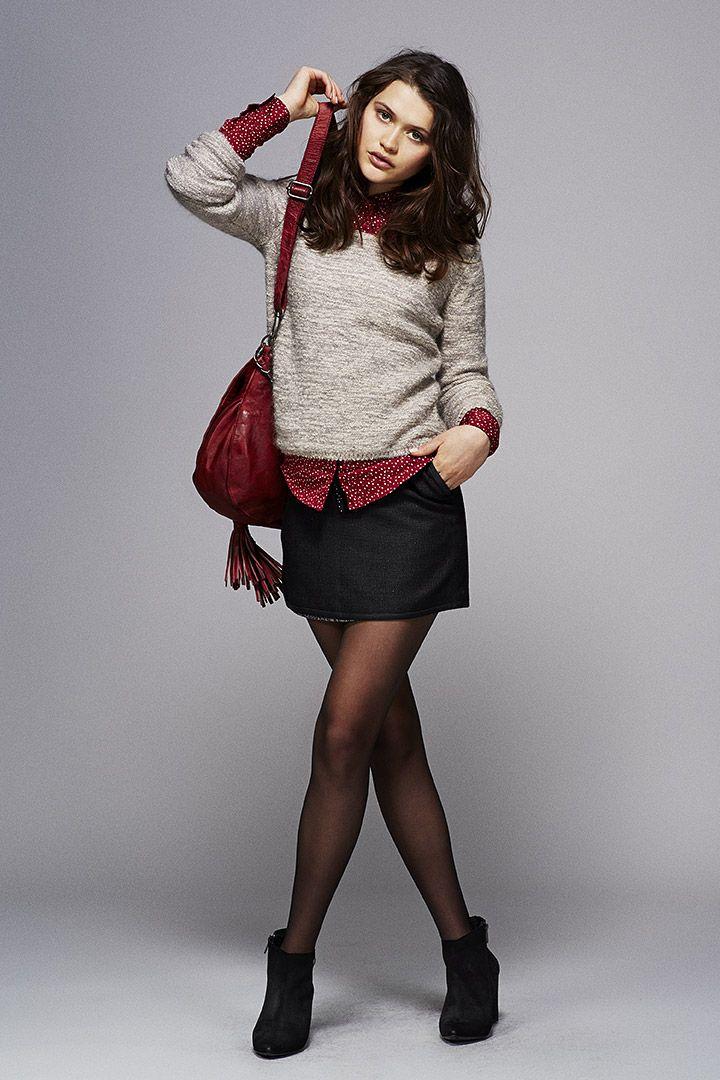 Pull femme, chemise rouge I.Code et jupe en jean #IKKS