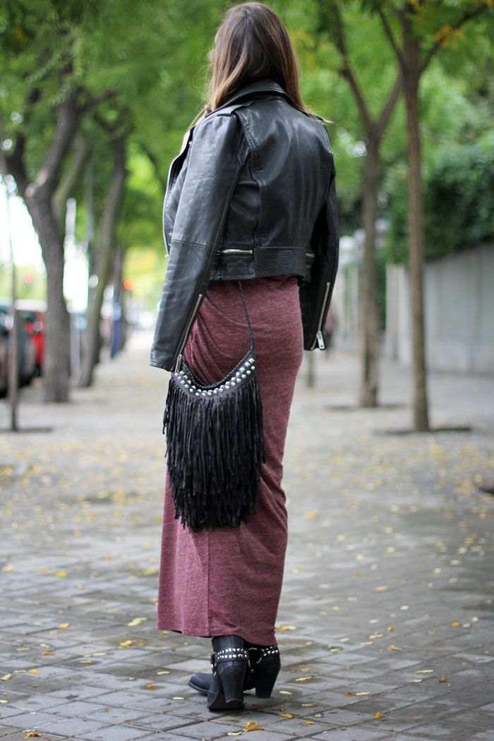 This is exactly how I get around in the cool months. Biker jacket, maxi, fringed cross body & edgy ankle boots. Via Lady Addict.