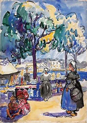 Market by the Sea, Brittany, 1911, aquarelle et graphite sur papier - Emily Carr (Canadian, 1871-1945)