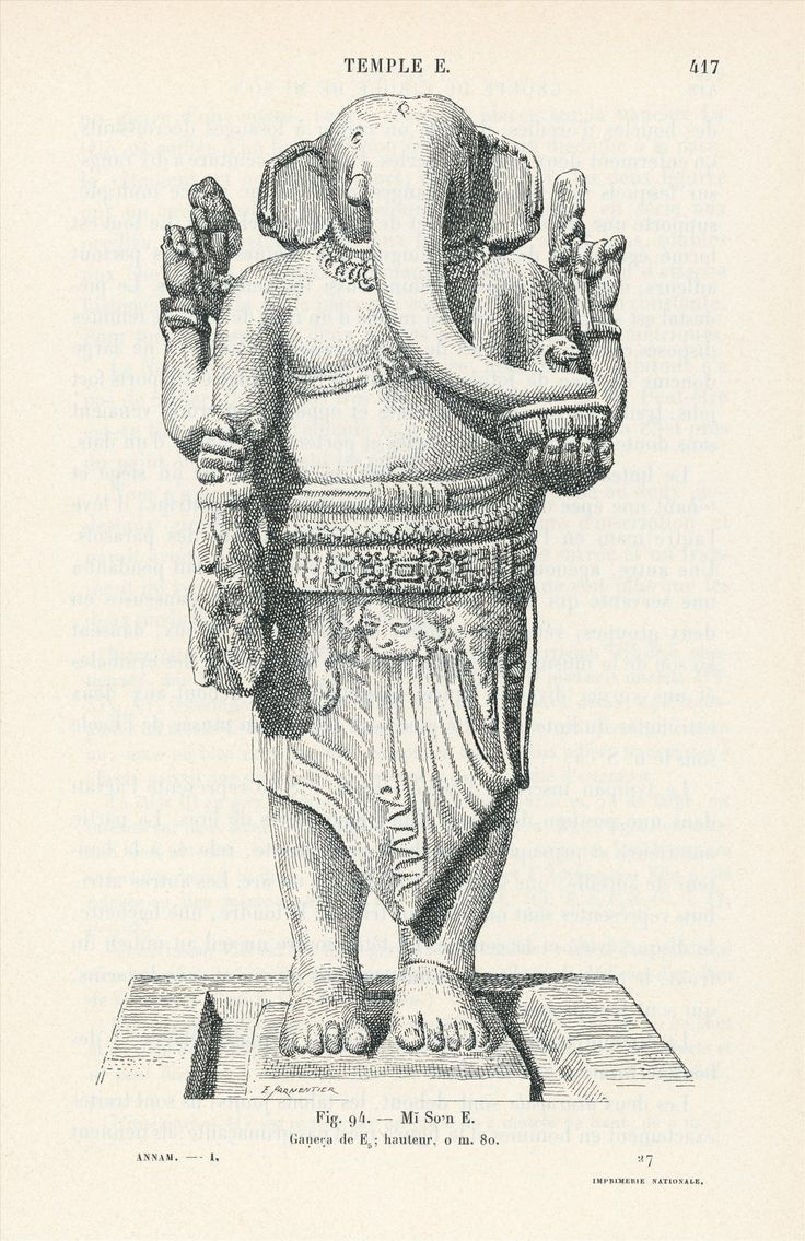 Line drawing of Ganesha, My son temple group E, showing the arms complete with attributes #LostKingdoms