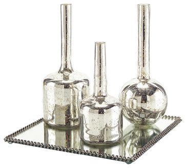 John Richard Set of 3 Mercury Glass Bottles on Plateau JRA-9200S4 transitional-water-bottles