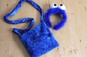 Cookie Monster Accessoires: Bastelanleitung für Krümelmonster Kulleraugen und Nähanleitung für Krümelmonster Tasche
