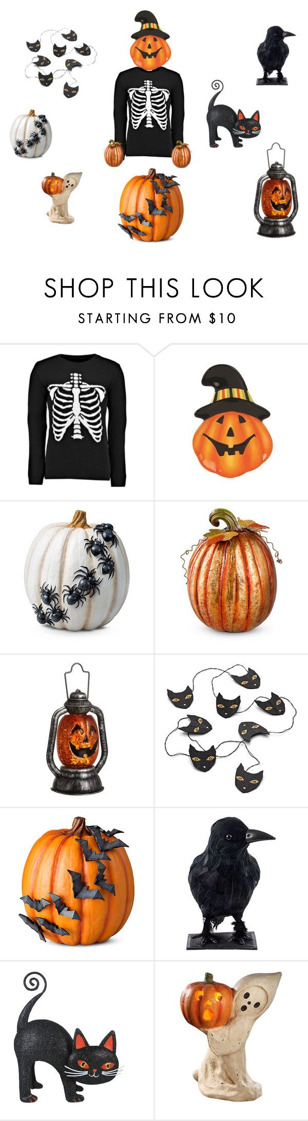 """~ BOO ~"" by grandfinery ❤ liked on Polyvore featuring Boohoo, Fitz & Floyd, Improvements, John Lewis, Crate and Barrel and Bethany Lowe"