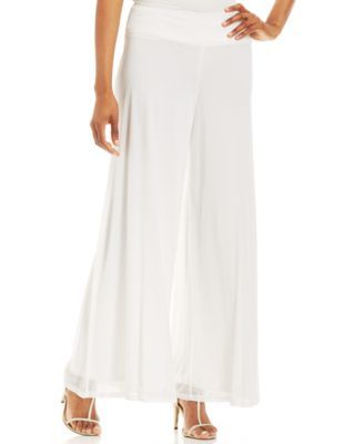 Make your move in Msk's breezy palazzo pants, featuring fluid chiffon and a fit that flatters! | Polyester | Hand wash | Made in USA | Mid rise: waistband sits below natural waist | Relaxed fit throug