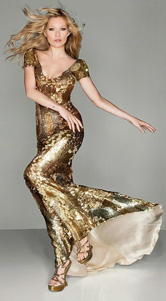 Kate Moss in gold McQueen - British Vogue shoot - Olympic Closing Ceremony. 2012