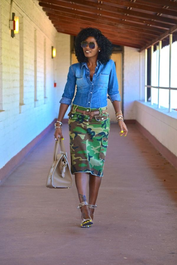 styling+a+jean+skirt | Style Pantry | Denim Shirt + DIY Camouflage Pencil Skirt: