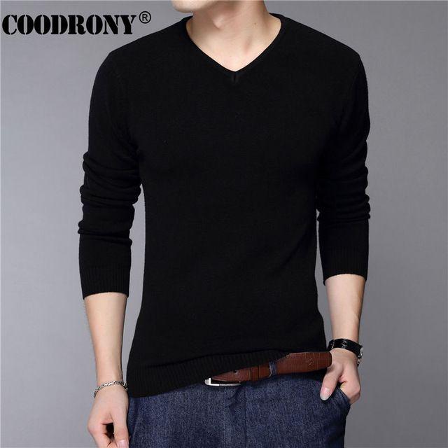 Nueva Moda Slim Fit Pullover Sweater Hombres Clásico Negro Puro los hombres de Color Sólido Con Cuello En V Camisa Homme Tirón Lana de Cachemira Suéteres 6638