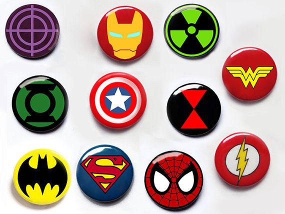 Superhero pin button badges captain