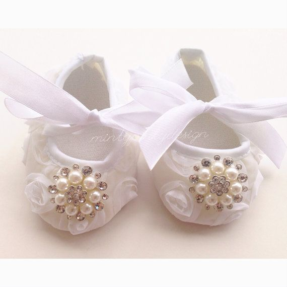White Satin Baby Girl Crib Shoes Baby Rosette Shoes by mintypinky, $11.99