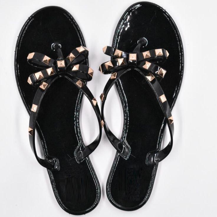 13.49$  Buy now - New Summer Women Flip Flops Slippers Flat Sandals Bow Rivet Fashion Pvc Crystal Beach Shoes  #buyonline