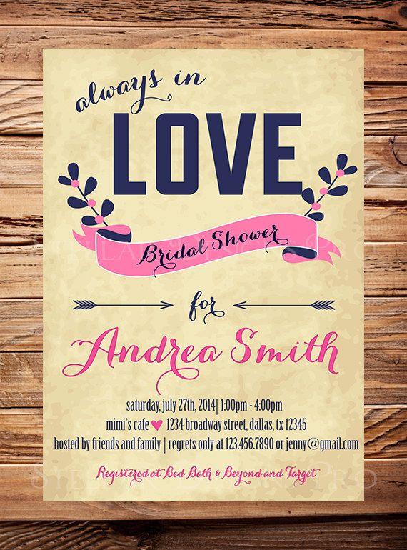 Bridal Shower Invitation, vintage, burlap, linen, love,Wedding shower, Digital, Baby Shower Invitation, Pink, Navy, Bridal Shower Invitation on Etsy, $21.00