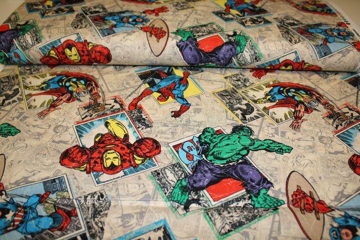 Funky Monkey Fabrics Inc. - Marvel Avengers Retro Badge - 1/2 yard, $5.50 (https://funkymonkeyfabrics.com/marvel-avengers-retro-badge-1-2-yard/)