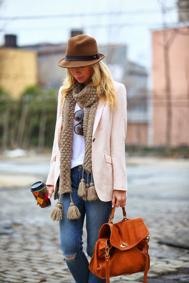 Perfect Fall or Winter Outfit With Hat And Scarf. #handbag burnt orange handbag. Love it